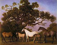 Mares and Foals under an Oak Tree, 1775, stubbs