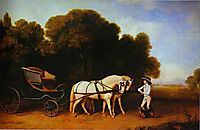 Park Phaeton with a Pair of Cream Pontes in Charge of a Stable Lad with a Dog, 1785, stubbs