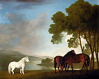 Two Bay Mares And a Grey Pony In a Landscape, 1793, stubbs