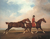 William Anderson with two saddle-horses, 1793, stubbs