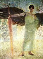 Angel with the Flaming Sword, 1889, stuck