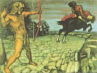 Heracles kills the centaur Nessus to save Deianira, 1899, stuck