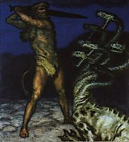 Hercules and the Hydra, 1915, stuck