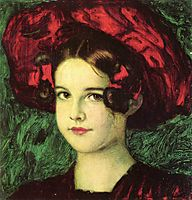 Mary with a red hat, c.1902, stuck