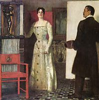 Self-portrait of the painter and his wife in the studio, 1902, stuck