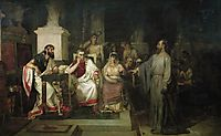 The Apostle Paul explains the tenets of faith in the presence of King Agrippa, his sister Berenice, and the proconsul Festus, 1875, surikov