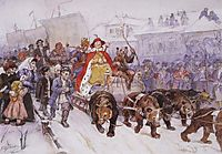 Big masquerade in 1772 on the streets of Moscow with the participation of Peter I and princer I. F. Romodanovsky, 1900, surikov