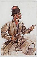 Cossack with gun, 1893, surikov