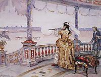 Empress Anna Ioannovna in Peterhof Temple shoots deer, 1900, surikov