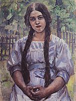 A girl with braids. Portrait of A. A. Dobrinskaya., 1910, surikov