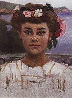 Head of girl. Portrait of Z. S. Khaminova., 1908, surikov