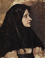 Head of a woman in black shawl, 1886, surikov