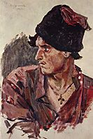Head of a young cossack, 1905, surikov