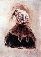 Head of young lady, 1880, surikov