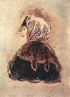 Head of young lady, 1890, surikov