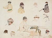 Male heads with winter caps, 1887, surikov