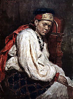 The model in the ancient russian costume, 1882, surikov
