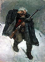 Old soldier descending from the snowy mountain, 1898, surikov