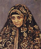 The old woman with a patterned headscarf, 1886, surikov