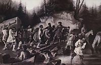 Peter I drags ships from the Onega Bay in Lake Onega in 1702, 1872, surikov