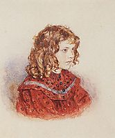 Portrait of girl with red dress, c.1894, surikov