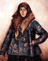 Portrait of L. T. Matorina. Cossack woman., 1892, surikov