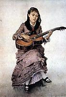 Portrait of princess S. A. Kropotkina with guitar, 1882, surikov