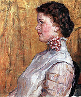 Portrait of woman with yellow background, 1911, surikov