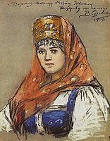 Portrait of young lady, 1906, surikov