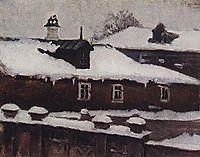 Rooftops in winter, c.1885, surikov