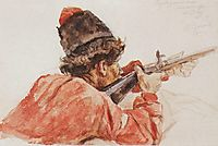 Shooting cossack, 1893, surikov