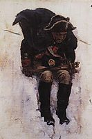 Soldier descending from the snowy mountain, 1898, surikov