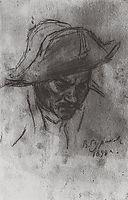 Soldier-s head in a cocked hat, 1898, surikov