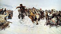 Taking a snowy town, 1891, surikov