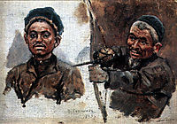Tatar-s heads (old and young), 1893, surikov