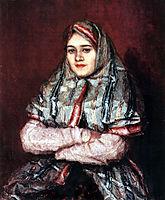 Townswoman. Portrait of Alexandra I. Yemelyanova nee Schrader, 1902, surikov