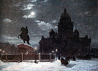 View of monument to Peter I on the Senate Square in St. Petersburg, 1870, surikov