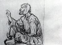 Whacky, seated on the ground (Study to , surikov
