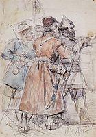 Yermak with cossacks  (Study to , 1893, surikov