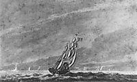 Full Sail off Sandy Hook Entrance to New York Harbor, c.1812, svinyin