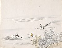 Untitled (figures fishing on boats), taiga