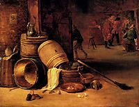 An interior scene with pots, barrels, baskets, onions and cabbages with boors carousing in the background, teniers