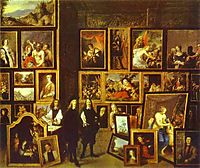 Archduke Leopold Wilhelm in his Picture Gallery, with the artist and other figures, 1653, teniers