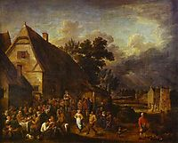 Great Village Feast with a Dancing Couple, teniers