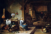 Interior of a peasant dwelling, teniers