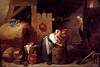 Interior scene with a young woman scrubbing pots while an old man makes advances, c.1645, teniers