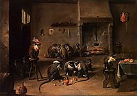 Monkeys in a Kitchen, c.1645, teniers