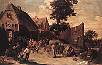Peasants Dancing outside an Inn, c.1648, teniers
