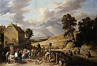 Peasants Dancing outside an Inn, c.1665, teniers