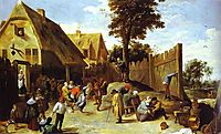 Peasants Dancing Outside an Inn, c.1645, teniers